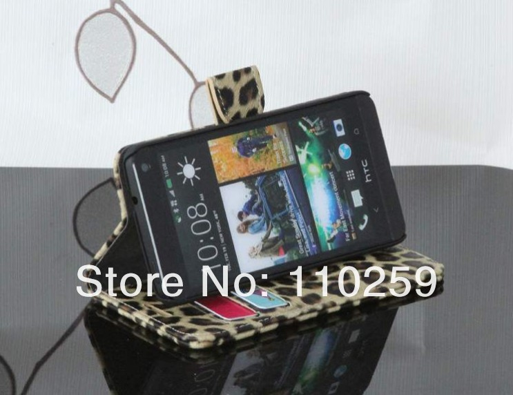 Hight quality Leopard wallet stand leather case For HTC ONE M7 Free shipping (30 pieces/lot)(China (Mainland))