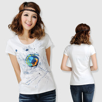 Fashion  New summer  kayush T-shirt women's short-sleeve summer t-shirt rustic small fresh white short-sleeve T-shirt
