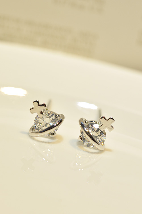 Earring exquisite small zircon small cross stud earring Women earrings accessories(China (Mainland))