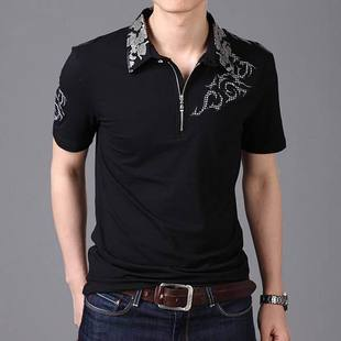 Free shipping Spring new arrival men's embroidered casual short-sleeve T-shirt male slim print t-shirt top t shirt(China (Mainland))