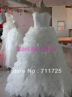 Real Picture Lovely Princess Beautiful Scalloped Beaded Appliques Ruffles Flouncing Tiered Strapless Wedding DressesWD13052008