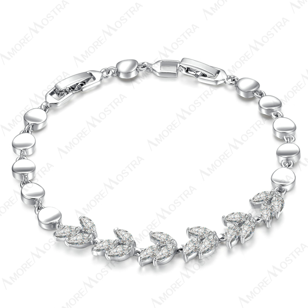 Promotion gift ,New Arrival, 18K White Gold Plated use SWA Elements Crystal Tri-leaves Chain Bracelet B076W1(China (Mainland))