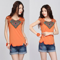 2013 summer applique embroidered t-shirt female short-sleeve 31130021  chinese style