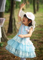 2013 New Desig Summer kids short sleeve blue dresses fashion girls lace flower clothes 5pcs/lot priness party layered tutu dress