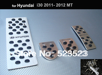 Free Ship for  Hyundai i30 2011 12  Fuel Brake Foot Rest MT Pedals Plates  - Aluminium Alloy 4pcs Manual Transimission