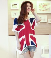 Free Shipping 2013 women's Summer Short-sleeve T-shirts UK Britsh Flag Loose Large Size