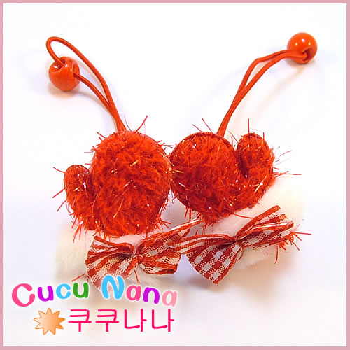 Christmas female child hair accessory hair rope rubber band love gloves female child volvulus 1921b(China (Mainland))