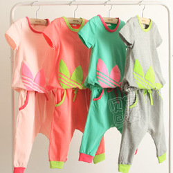 2013 high quality summer girl's clothing sets /pants+short-sleeve shirts/ 4 colors kids clothing sets children's wear(China (Mainland))