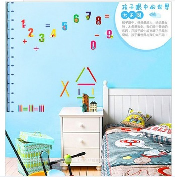CPA-FREE free shipping new DIY 3D baby room wall sticker figures wall paster childrens' room wall height measurment paster
