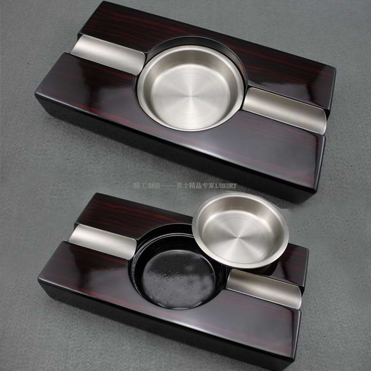 New arrival ebony wood high gloss piano lacquer Large steel ashtray(China (Mainland))