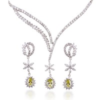 Luxury Ladies' Flower Shaped 22.6 CT Brilliant Cut Grade AAA Colored Cubic Zircon Diamond Wedding Jewelry Set (0001)
