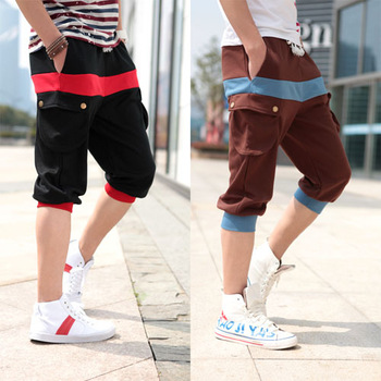 Redivivus classic welt color block big pocket decoration sports capris 7 male casual pants casual pants