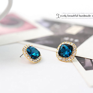 Accessories earrings brief square crystal earrings stud earring female elegant chromophous(China (Mainland))