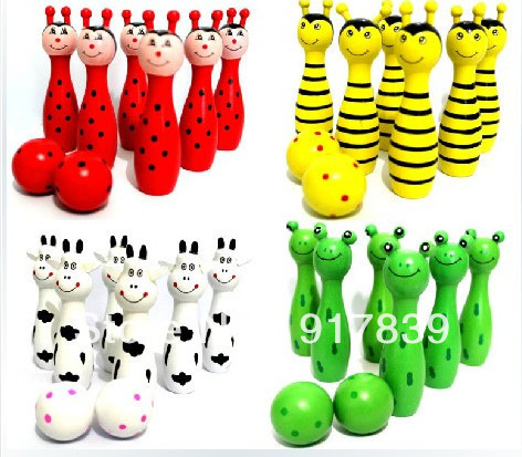 1set Hot Sale Wooden Bowling Ball With Animal Design Learning System Family Game Education&Learning Toys Kids Toy Free Shipping(China (Mainland))