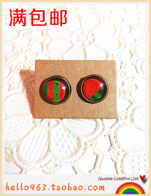Summer watermelon lubai icy cold time gem stud earring earrings ring hairpin no pierced female 074(China (Mainland))