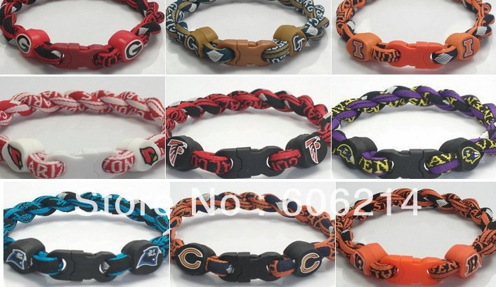 100pcs/lot NCAA COLLEGE FOOTBALL 2 ropes twisted tornado titanium sports bracelets mix teams free shipping(China (Mainland))