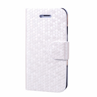 Stylish Protective PU leather Flip Case Diamond Pattern for iPhone 5 - White