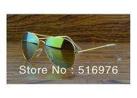 Mirrored Gold High Quality 2014 New Fashion Blue Mirror Eyewear Brand Vintage Men Woman Sunglasses