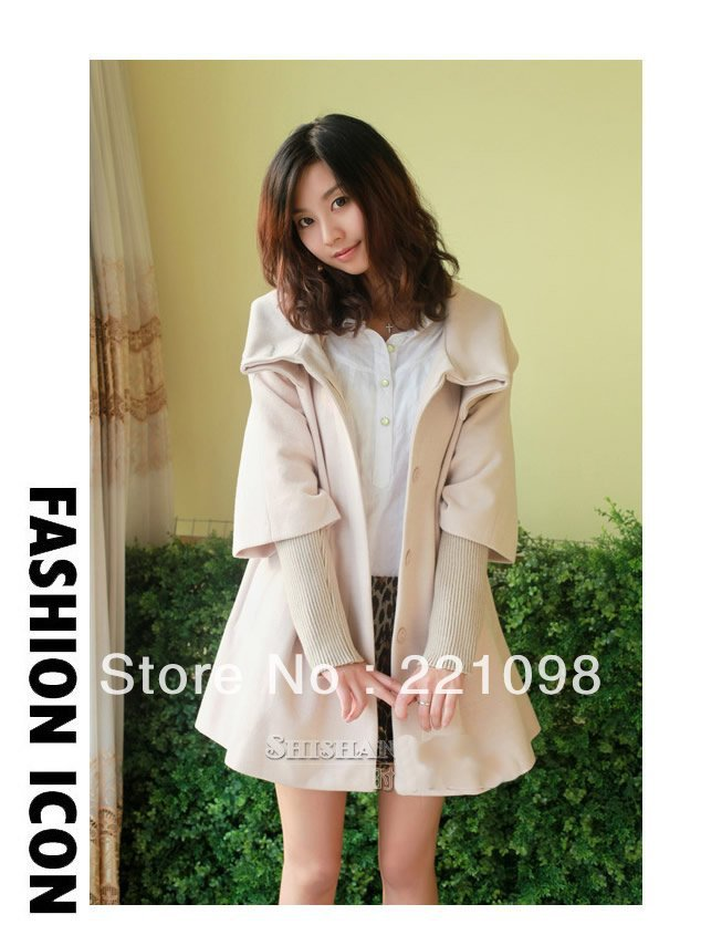 Women wool coat warm long jacket winter overcoat outerwear trench coat new fashionable 7 colors women poncho W600-3(China (Mainland))