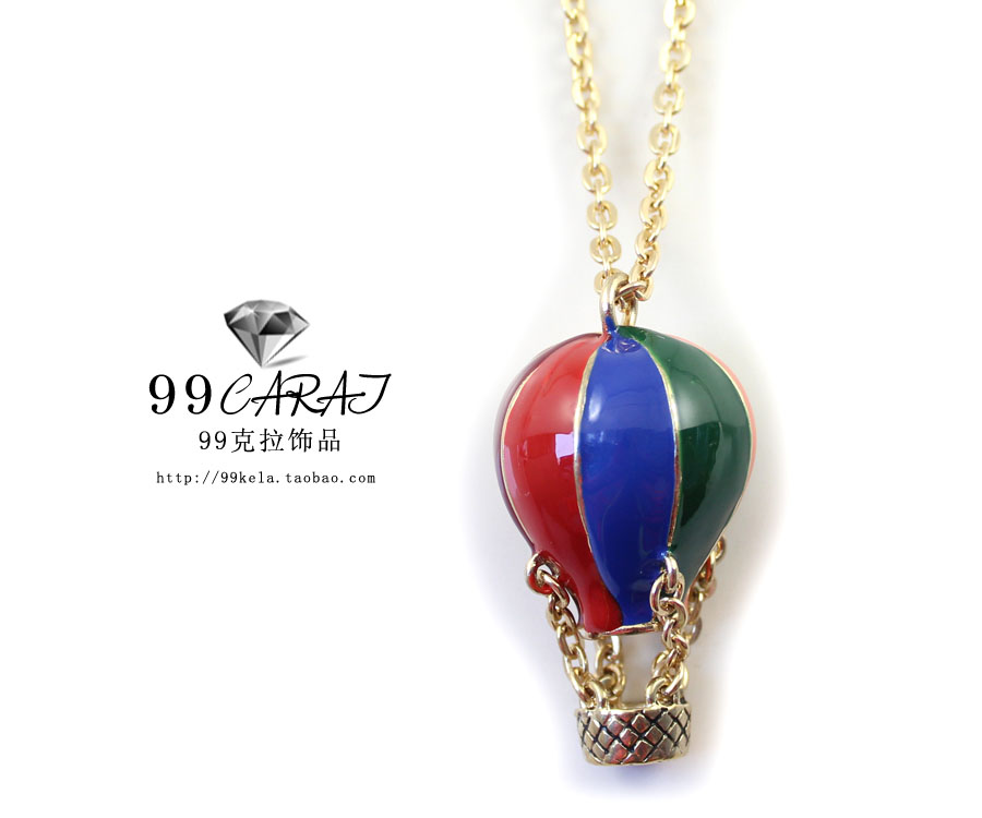 99 fashion accessories fashion multicolour hot balloon pendant gold long necklace design hq necklace(China (Mainland))