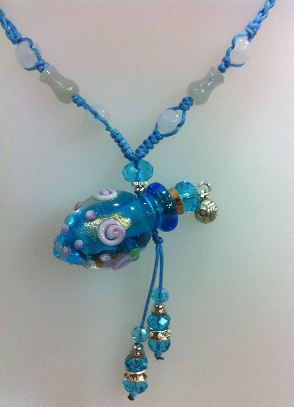 Coloured glaze essence oil bottle pendant necklace(China (Mainland))
