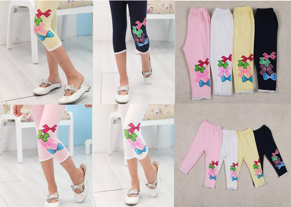 Wholesale 5Pcs/Lot toddler girls Summer Capris leggings WITH bowknot free shipping GJ-1(China (Mainland))