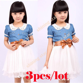 holiday sale 3pcs/lot Baby Children's Girls Lovely Short Sleeve Mesh Splicing Denim Jeans Dress with Waistband 4 size S14004