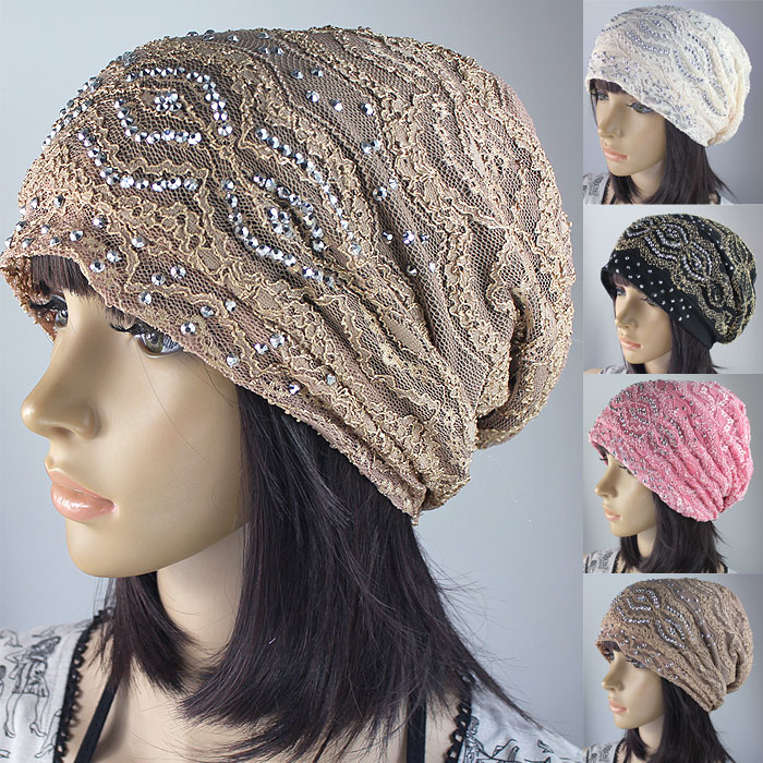 Hat female spring and summer rhinestone lace mesh bandanas pocket bare-headed hat air conditioning hat(China (Mainland))