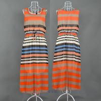 Summer stripe chiffon long design one-piece dress bohemia beach mopping the floor dress full dress one-piece