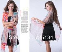 2013 New arrival ladies bohemian beach cape multifunctional ultra long print chiffon scarf ,silk scarf