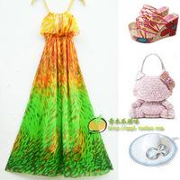 2012 summer bohemia lotus leaf chiffon full dress beach dress one-piece dress female