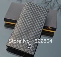 Leisure men long wallet. Water cube grain wallet