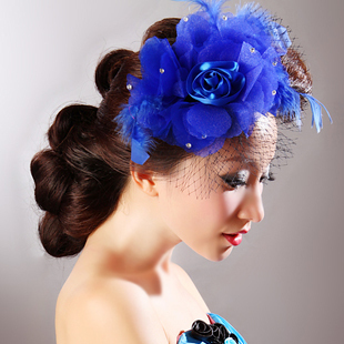 Colour bride 252 blue red rose yarn flower hair accessory the wedding hair accessory accessories(China (Mainland))