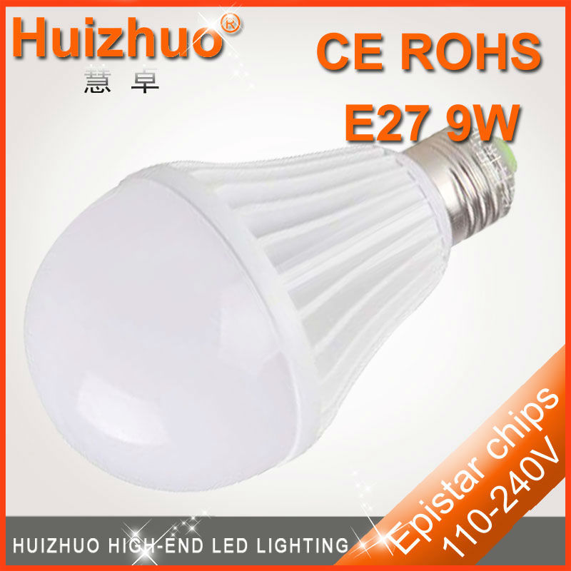 [Huizhuo lighting]AC100-240V E27 white bright led light bulb,High power 9w led bulb with Epistar chips supplier in China(China (Mainland))