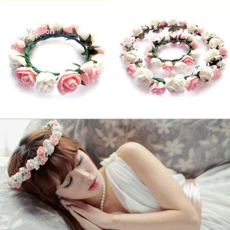 Free Shipping Rose Bride Accessory Hawaiian Foam Flowers Hair Bridal Wedding Flower Garland Purple&Blue Pink&White YP0501-026(China (Mainland))
