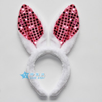 Christmas child performance props paillette rabbit ears adult plush rabbit headband hair bands headband