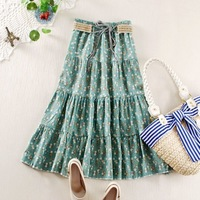 Saia Jeans Rushed Sashes Floral 2014 Hot Selling Women's Bohemia Skirt Girls Flowers Skirts Women Cotton With Linen Saia#13f0150