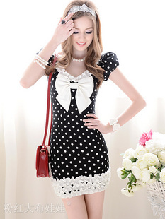 2012 summer black white polka dot slim tight fitting ruffle hem white bow short-sleeve dress(China (Mainland))