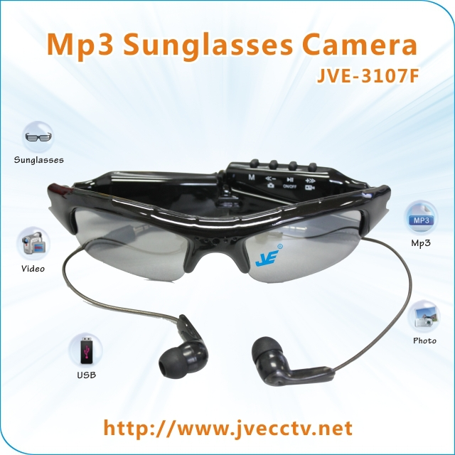 640x480 Eyewear Glass Glasses Camera DVR Sunglasses Camera Video Mp3 + 4GB TF card JVE-3107F(China (Mainland))