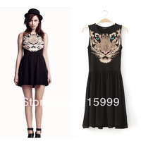 Free Shipping Milla Fashion Women Tiger Head Printed Sleeveless Dress Costumes A0172
