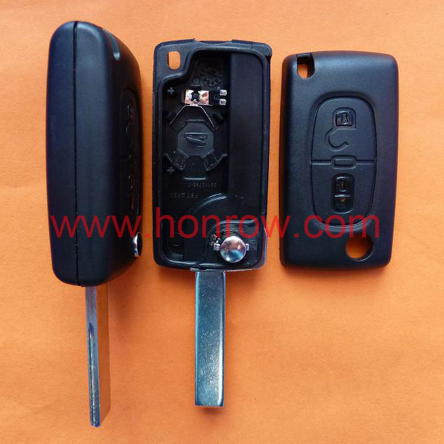 Peugeot 407 blade 2 buttons flip remote key shell ( HU83 Blade-2Button-With battery place )(China (Mainland))