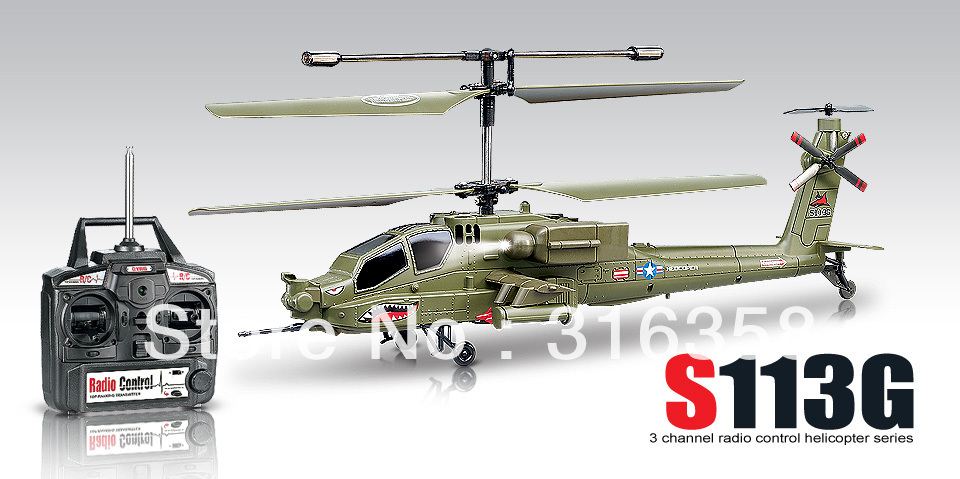 Promotion Free shipping S113G Gyro Military Apache 3CH RC Radio Remote Control Helicopter R/c Airplane with flash lights(China (Mainland))