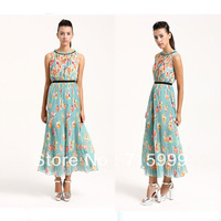 Free Shipping Milla Sky Blue with Floral Printed Long Dress Fashion Women Dress A0115