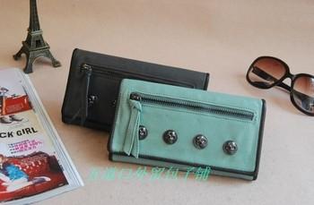 2013 new women bags retro star skull rivet fold wallet British wave packet