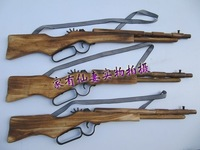 Wooden toy great performance props wool toy gun wool rifle dismembered rubber band