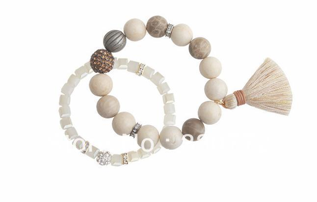 Free shipping (Min. order is $15, mixed order)Small fresh original stone beaded double tassel bracelet, alloy bracelet/D3OC0044(China (Mainland))