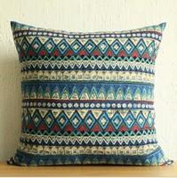 Bohemian Retro Cotton and linen cushions Stripes Pillow Case Cushion Cover Blue