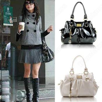 Fashion Women's Handbag Large Capacity Petant Faux Leather Shoulder Bag Fold Totes Bag Black White