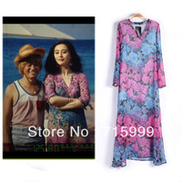 Free Shipping Milla Fashion Long Sleeves Dress Floral Printed Dress Bohemian Dress A0144