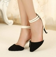 2013 hot sale fashion lady double buckles strap pointed toe slim dress shoes ankle pump heels color contrast CHEAP free shipping